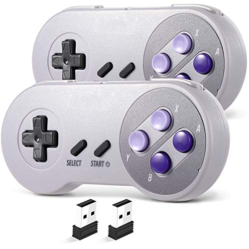 2 Pack 2.4 GHz Wireless USB Controller Compatible with Super NES Games, iNNEXT SNES Retro USB PC Super Classic Controller Joypad Joystick for Windows PC MAC Genesis Higan