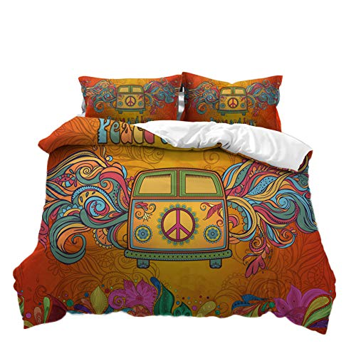Pterygoid Collection Campervan Peace Sign Quilt Duvet Cover Set Camper Van Bedding Sets Include Duvet Cover Pillowcases