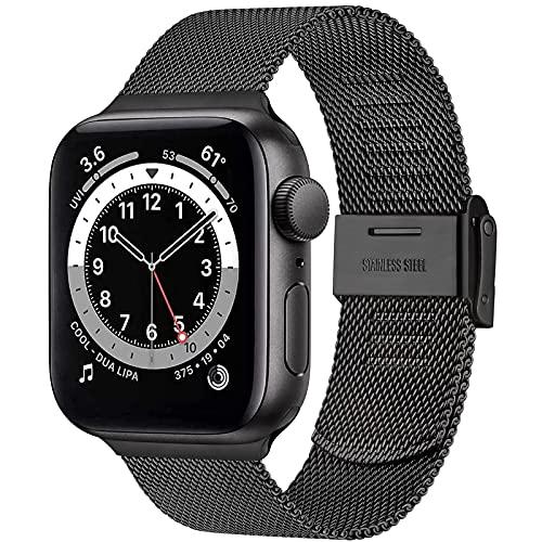 AOZZ Metallo Cinturino Compatibile con Apple Watch Cinturino 44mm 40mm 42mm 38mm per iWatch Series 6 5 4 3 2 1 SE, Cinturini Traspirante con Classica Chiusura (42mm/44mm Nero)