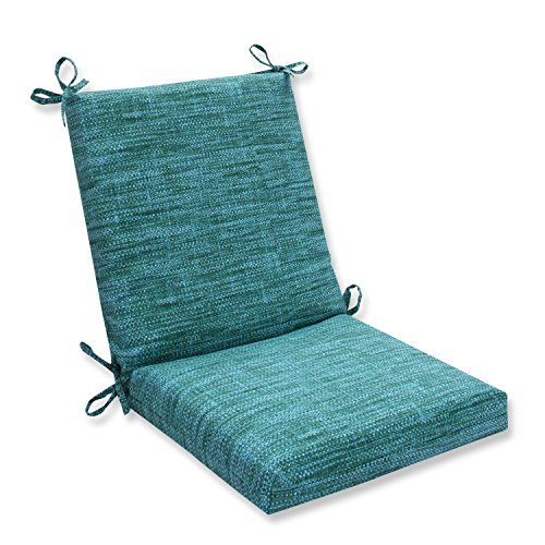 Pillow Perfect Outdoor/Indoor Remi Lagoon Square Corner Chair Cushion, 36.5' x 18', Blue