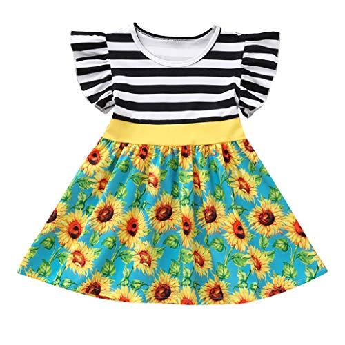 Julhold kleine kinderen baby meisjes vliegen mode leuke mouwen gestreept split zonnebloemenprint losse jurk kleding 1-5 jaar