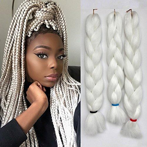 Jumbo Braids Colorful Synthetic Kanekalon Hair Extensions for DIY Crochet Box Braiding 3pcs/Lot 100g/pc 24inches White Color