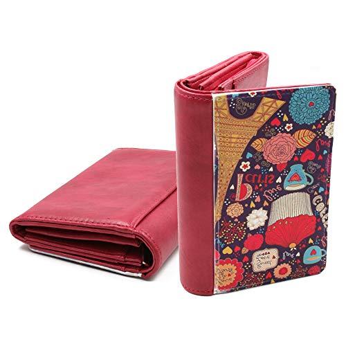 Cartera de Mujer Personalizada con Fotos y Texto | 10 Compartimentos de Tarjetas | Cierre en 1 Click | Color Rosa