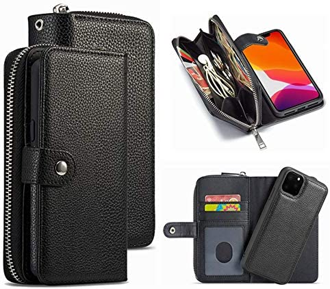 iPhone 12 Mini Wallet Case HYSJY PU Leather Detachable Magnetic Women with Zipper Pocket Card product image