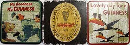 McLaughlin's Irish Shop Guinness - Set di 3 sottobicchieri in legno, motivo: leone