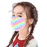 Jiaba 10-100 Stück Bunt Mundschutz Halstuch für Kleinkinder, Regenbogen-Krawattenfarbe Gradient Drucken_5 Lagige Schutz Staubdichtes_Mas, für Jungen und Mädchen (10X, D)