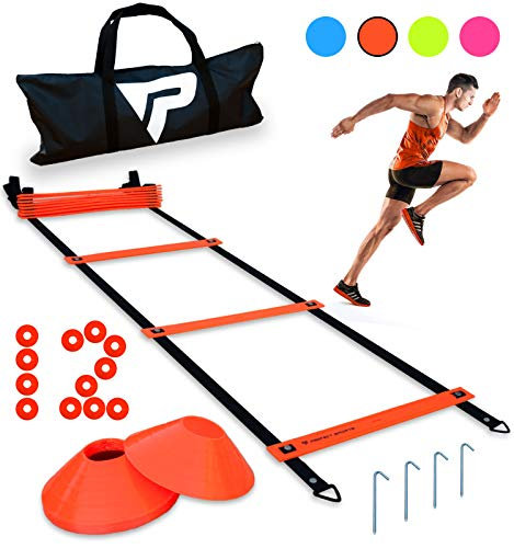 Pro Agility Ladder and Cones – 15 ft Fixed-Rung Speed Ladder with 12 Disc Cones for Soccer, Football, Sports Training – Includes Heavy Duty Carry Bag, 4 Metal Stakes, 2 Agility Drills eBooks (Orange)
