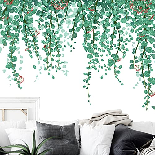 Widream 2 pcs Verde Pegatinas de Pared Hojas, Hojas Calcomanías de Pared de Plantas, Vinilo Decorativo Planta Vid, Hojas de Eucalipto, para Salón Dormitorio Oficina