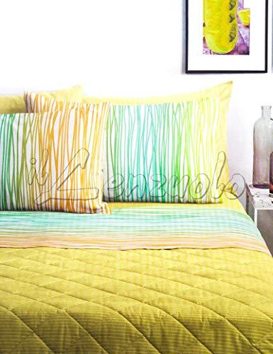 Lenzuola matrimoniali completo Bassetti Dream FLOR in cotone variante Giallo