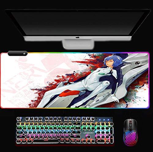 Alfombrilla de ratón RGB con luz LED para juegos con base de goma de colores, alfombrilla de escritorio para PC portátil a 3080 cm