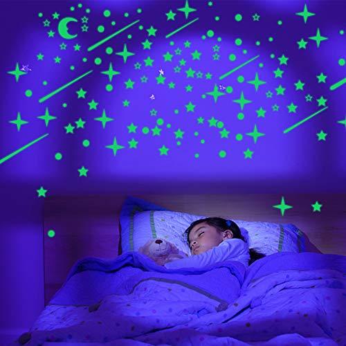 Pegatinas fluorescentes, Liesun 597 Pzas Luminoso Pegatinas de Pared, luna y Estrellas Fluorescente Decoración de Pared, perfectas para decoración dormitorio de niños, DIY Decoración de la Habitación
