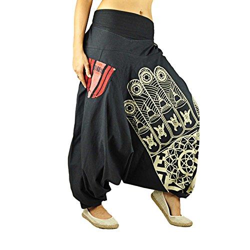 virblatt Pantaloni alla Turca Donna Pantaloni Etnici Larghi Donna Harem Pants Yoga Erleuchteter