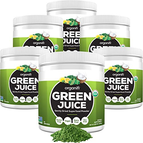 Organifi: Green Juice - Organic Superfood Supplement Powder - 6 Pack - Supply - Organic Vegan Greens - Hydrates and Revitalizes - Support Immunity, Relaxation and Sleep