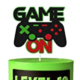 Game On Cake Decorations Video Game Cake Topper for Gamer Play Gaming Theme Kids Boy Girl Man Women Happy Birthday Party Supplies Double Side Glitter