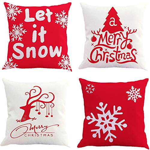 4 Piezas Fundas Navideñas para Cojines,Navidad Reno,Funda de Cojín,Fundas Navideñas