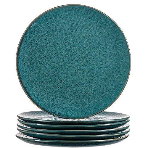 Leonardo Matera Keramik-Teller 6-er Set, spülmaschinengeeignete Speise-Teller, Essteller mit Glasur, 6 runde Steingut-Teller, Ø 27 cm, blau, 018547