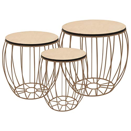 Festnight Set of 3 Industrial Nesting Tables Coffee Table Set| Wood Side Tables End Tables Couch Tables Storage Basket Coffee Tables Side Tables for Home Living Room, Copper Frame