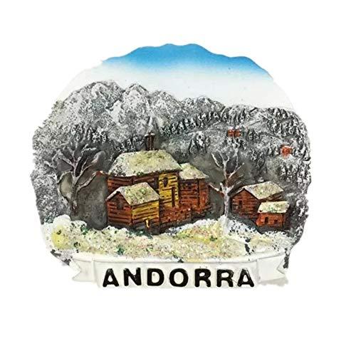 Weekinglo Souvenir Frigorífico Imán Nieve Andorra Resina 3D Artesanía Hecha A Mano Turista Viaje Ciudad Recuerdo Colección Carta Refrigerador Etiqueta