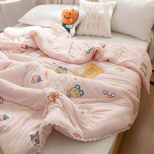 Cálidas para la Cama o el Sofá, Clase A Baby-Level Punto Algodón Fibra de Soja Fresco por Doble Lavado de Agua-niñita_150x200cm