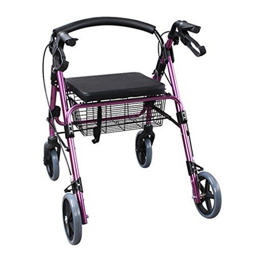 DNSJB Lichtgewicht Walker kopen Voedselwagen, Aluminium Opvouwbare Rollator Winkelwagen, Oude Vierwielige Walking Frame Trolley