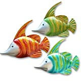 GIFTME 5 14Inch Metal Fish Wall Art Garden Pool Decor Set of 3 Colorful Outdoor or Indoor Wall Sculptures(14 Inch,Hand-Painted)