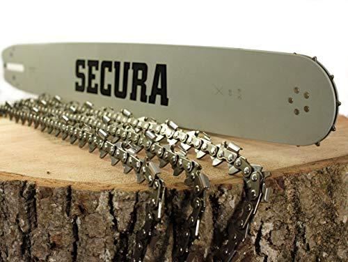 SECURA 3x Sägekette + 1 Führungsschiene 40cm kompatibel mit McCulloch CS 390 CS390 3/8\' 1,3mm 56TG