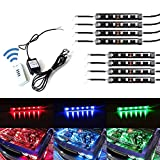 iJDMTOY 8-Piece Universal Fit 48-LED RGB Multi-Color LED Engine Bay or Under Car Ambient Decorational Lighting Kit w/Wireless Remote Control