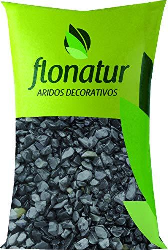 flonatur Piedra Canto rodado Negras 25Kg. tamaño 20/40. Piedras Decorativas para jardín o Exterior en Color Negro