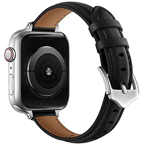 Compatible con Apple Watch Series 1/2/3/4/5/6, correa de reloj de mujer, pulsera de cuero genuino, 38 mm, 40 mm, 42 mm, 44 mm, 38(40)mm,