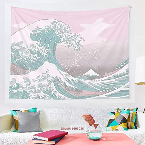 Tapiz para colgar en la pared de Kanagawa de la gran ola en colores pastel para la decoración del dormitorio del hogar