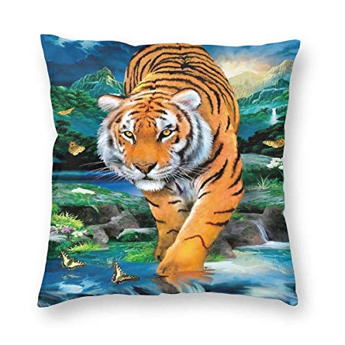 Moonlight Tiger Dekorative Square Throw Kissenbezüge Weiche Soild Kissenbezüge für Sofa Couch Bed Chair 18 X 18 in-WK
