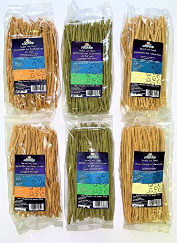 NO-MORE-FOOD-GUILT Nudeln natürliche oder mit Chili / Bärlauch, aus Kichererbsenmehl, von Hand Geschnitten, 3X2 Pakungen - 6 X 250g