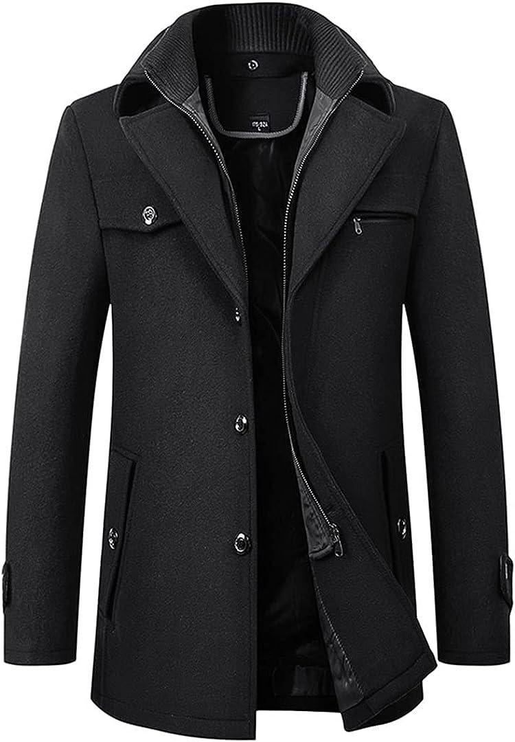 Men Wool Blends Coats Slim Fit Thick Woolen Overcoat Casual Warm Windbreaker Jacket