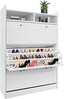 45 Pairs Wood Shoe Cabinet Shoes Rack Wooden Storage 3 Tier Adjustable Shelves Organiser Cupboard White