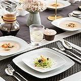 MALACASA Serie Julia, Tafelservice 30-teilig Kombiservice Porzellan Geschirrset mit je 6 Kaffeetassen, 6 Untertassen, 6 Kuchenteller, 6 Suppenteller und 6 Flachteller Kaffeeservice für 6 Personen - 4