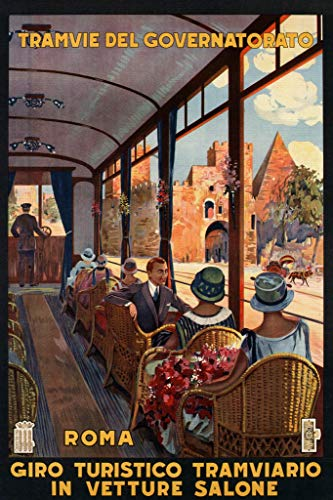 Roma Rome Italy Italian Street Car Tourism Vintage Travel Poster 12x18 inch