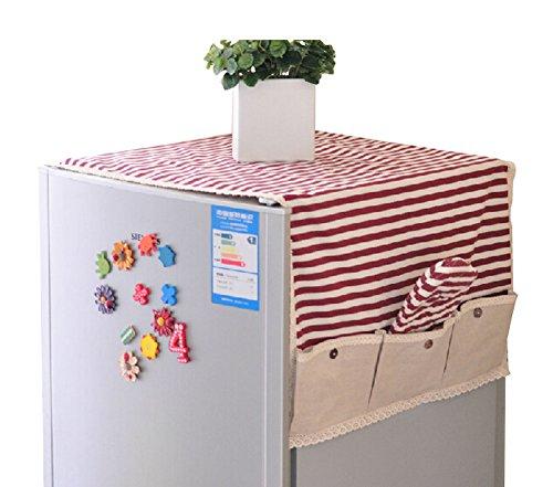 Retro bomull och linne kylskåp dammskydd hållbar förvaringsväska röd rand, 60 x 135 cm