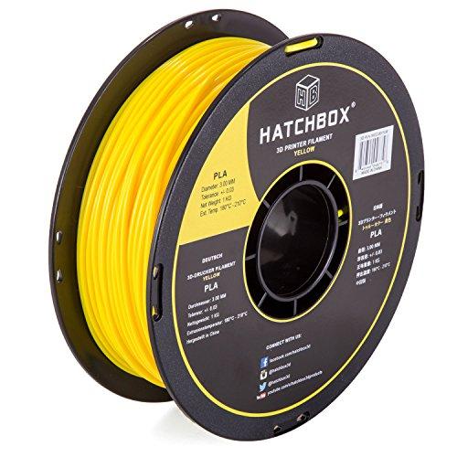 HATCHBOX 3D PLA-1KG3.00-YLW PLA 3D Printer Filament, Dimensional Accuracy +/- 0.05 mm, 1 kg Spool,...