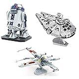 fascinations Metal Earth ICONX 3D Metal Model Kits Star Wars Set of 3 Millennium Falcon - R2-D2 - X-Wing Starfighter