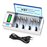 EBL Chargeur de Piles Universel- LCD Chargeur Universel pour AA/LR6, AAA/LR3, C/R14, D/R20 Piles Rechargeables en Ni-MH Ni-CD, avec Fonction de Décharge, avec 4 Slots de Charge