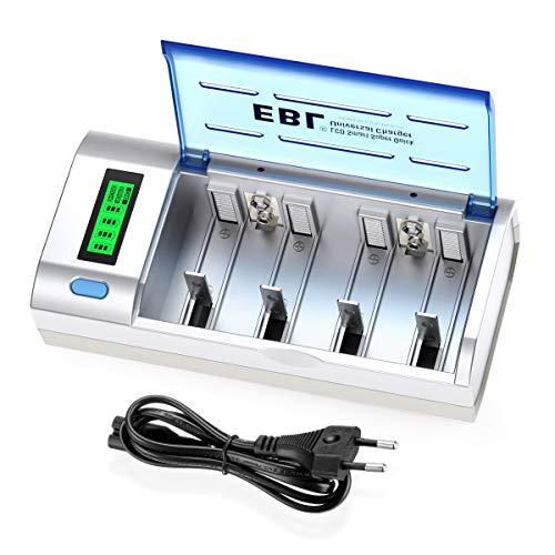 EBL Chargeur de Piles Universel- LCD Chargeur Universel pour AA/LR6, AAA/LR3, C/R14, D/R20 Piles Rechargeables en Ni-MH Ni-CD, avec Fonction de...