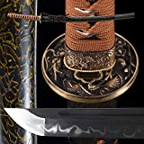 entez Handmade Katana,Samurai Sword Katana,Full Tang,Battle Ready Katana,T10 High Carbon Steel Heat Tempered/Clay Tempered,Very Sharp