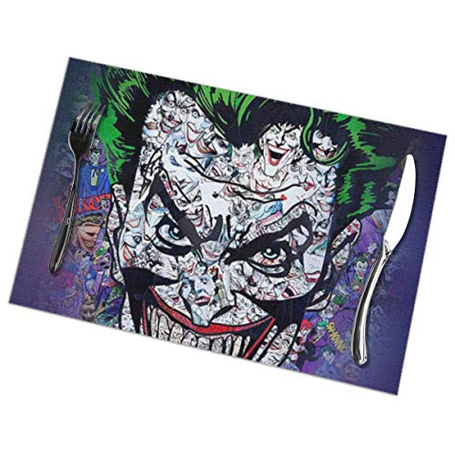 hfdff Orrore colorato di Cartone Animato Clown Zombie Faccia Joker Evil 6 Pezzi Tovaglietta Occidentale Anti-Olio Sottobicchiere Ciotola Tovaglietta Tovaglietta antiscottatura Set di 6