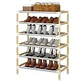 SXRZY Zapatero de madera, pequeño zapatero para exteriores para almacenamiento de zapatos de entrada, organizador apilable, montaje rápido, sin herramientas(estándar de 6 niveles)