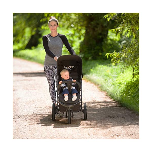 Hauck Rapid 3 Wheel Pushchair up to 25 kg with Lying Position from Birth, Small Foldable with One Hand, Height Adjustable Push Handle, Large Basket - Black Hauck LONG USE: The pushchair is suitable from birth (in lying position or in combination with the separate 2-in-1 Carrycot) and loadable up to 25 kg (seat unit 22 kg + basket 3 kg) EASY TO FOLD: This stroller folds away compactly and can be then carried with one hand only by the release loop COMFORTABLE: For the kid thanks to backrest and footrest adjustable into flat position, as well as for parents thanks to height-adjustable handle and large shopping basket 8