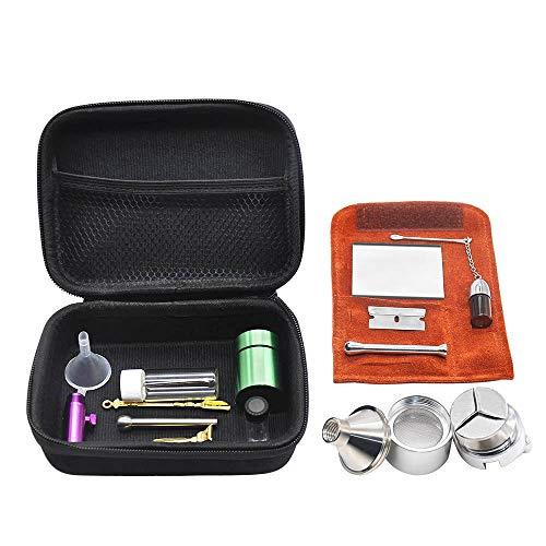 Botella 12PCS Tabaco Multiuso Fumadores Kit De Herramientas con Cuero De La PU Medicina De Cristal Botella De Aluminio del Tabaco Holding Latas De Metal De Spice Grinder
