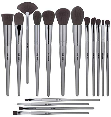BSMALL Makeup Brush Set Premium Synthetic Bristles Powder Foundation Blush Contour Concealers Lip Eyeshadow Brushes Kit 18 PCS
