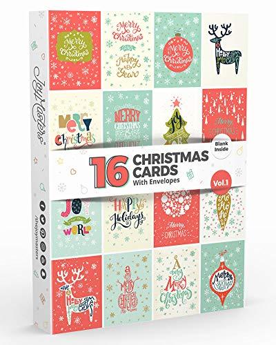 16 Tarjetas de Navidad | Caja de Christmas Surtidos con SOBRES | Diseños Clásico - Gran Combo para Hombres y Mujeres - Vol. 1