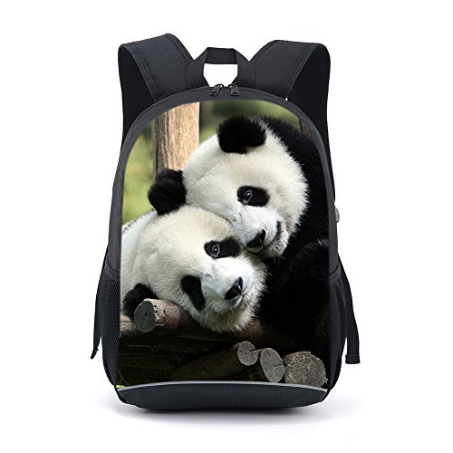 CAIWEI 17 inch paard dierenprint diagram schooltas rugzak rugzak (Panda)