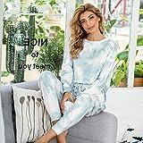 Pijamas Mujer Camisón Otoño Mujer Ropa De Dormir Conjunto De Pijamas De Manga Larga Pijamas para Mujer Pijamas De Mujer Suelta Loungewear L Verde